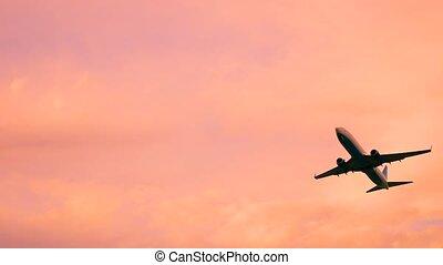 fermé, sochi, coucher soleil, prendre, avion, ou, levers de soleil