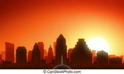 fermé, usa, horizon, levers de soleil, amérique, austin, texas, prendre