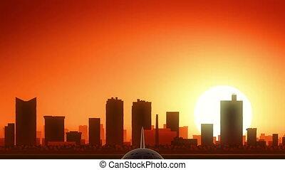 fermé, usa, horizon, prendre, texas, amérique, valeur, levers de soleil, fort