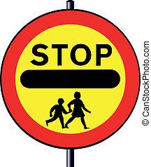 fermata, bambini, segno