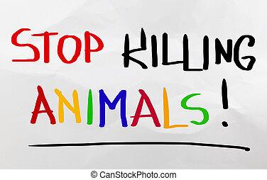 fermata, concetto, animali, uccisione
