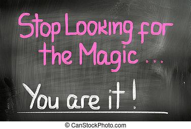 fermata, guardando, il, magia, lei, ara, esso, concetto