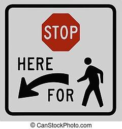 fermata, sinistra, moderno, icona, pedone, segno, arrow., vettore, semplice, simbolo, traffico