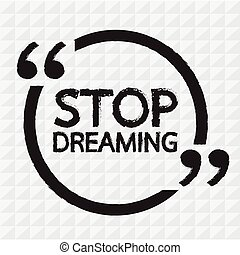 fermata, sognare, iscrizione, illustrazione, disegno