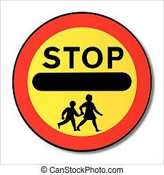fermata, traffico, bambini, segno