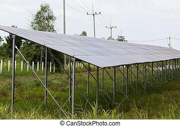 ferme, énergie, panneaux, solaire