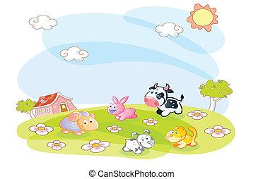 ferme, été, animaux