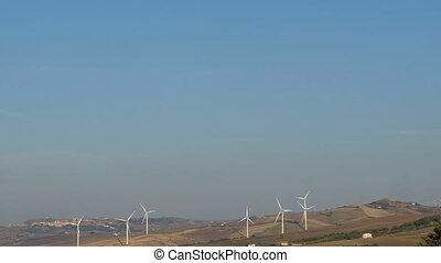ferme, 4k, turbines, colline, ratating, technologie, vert, énergie, élevé, eco, propre, vent