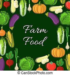 ferme, affiche, Légumes, vecteur, organique