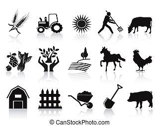 ferme, agriculture, ensemble, noir, icônes