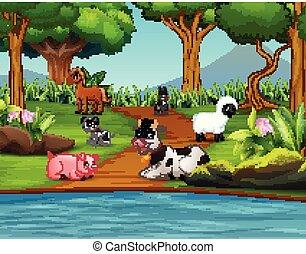ferme, apprécier, parc, dessin animé, animal