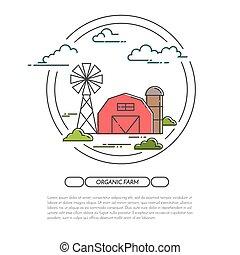 ferme, art, plat, vecteur, produits, agricole, annoncer, bannière, ligne