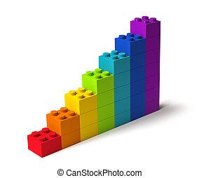 ferme, blocs, bâtiment, croissance, 3d, couleurs, arc-en-ciel