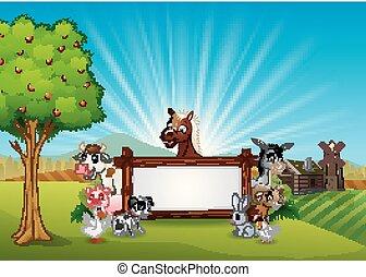 ferme, bois, animaux, signe blanc