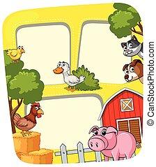 ferme, cadre, animaux, gabarit