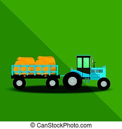 ferme, chariots, tracteur