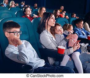 ferme, cinéma, regarder, viewers, eyes., pellicule