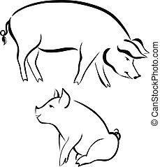 ferme, cochons, animaux