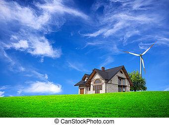ferme, colline verte, ecologic
