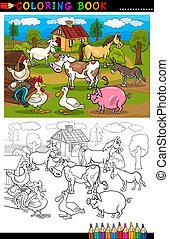 ferme, coloration, animaux, bétail, dessin animé