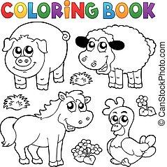 ferme, coloration, animaux, livre