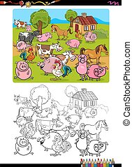 ferme, coloration, animaux, page