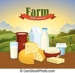 ferme, concept, naturel, lait