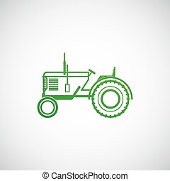 ferme, concept, vecteur, tractor., illustration
