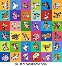 ferme, conception, animaux, dessin animé