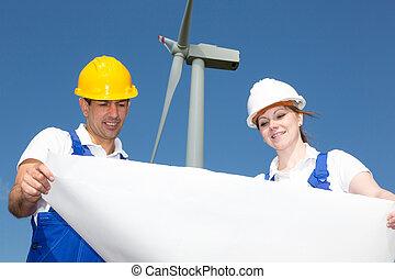 ferme, construction, plan, vent, ingénieurs