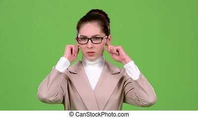 ferme, elle, écran, vert, dièse, girl, noise., oreilles