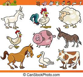 ferme, ensemble, animaux, dessin animé, illustration