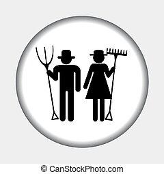 ferme, femme homme, icône, agriculteurs
