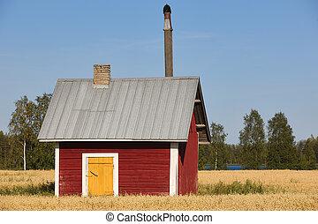 ferme, finlandais, campagne, traditionnel, bois, rouges