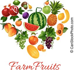 ferme, forme coeur, fruits, icônes