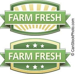 ferme fraîche, nourriture, étiquette