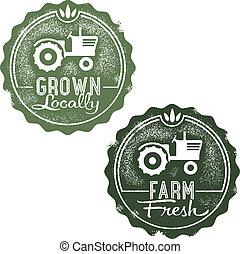 ferme fraîche, timbres, locally, développé