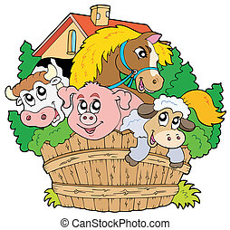ferme, groupe, animaux