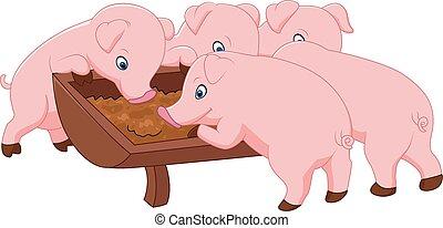 ferme, heureux, cochon
