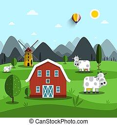 ferme, house., cartoon., vecteur, vaches, paysage