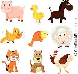 ferme, illustrateur, animal