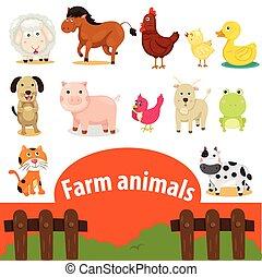 ferme, illustrateur, animaux