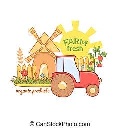 ferme, illustration, vecteur, frais, paysage rural
