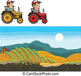 ferme, jeu, art, tracteur