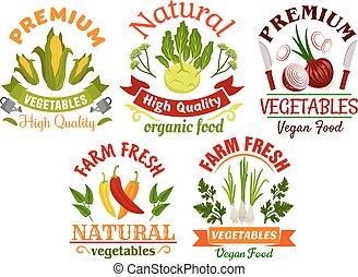 ferme, légumes, symboles, herbes, frais, dessin animé