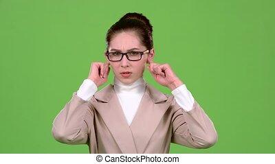 ferme, lent, elle, screen., mouvement, vert, dièse, girl, noise., oreilles