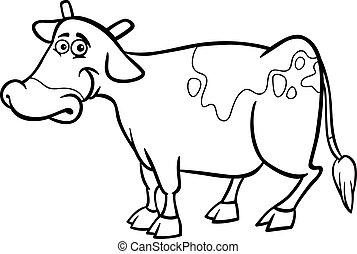 ferme, livre coloration, vache, dessin animé