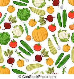 ferme, modèle, légumes, seamless, fond, frais