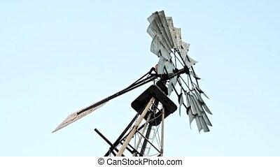 ferme moulin vent, haut, 4k., fin, skies.