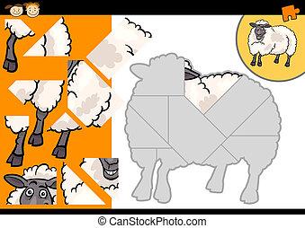 ferme, mouton, puzzle, jeu, dessin animé